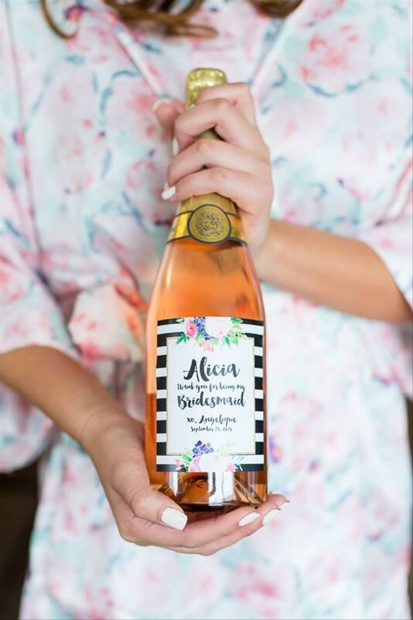 wine bottle bridesmaid gift