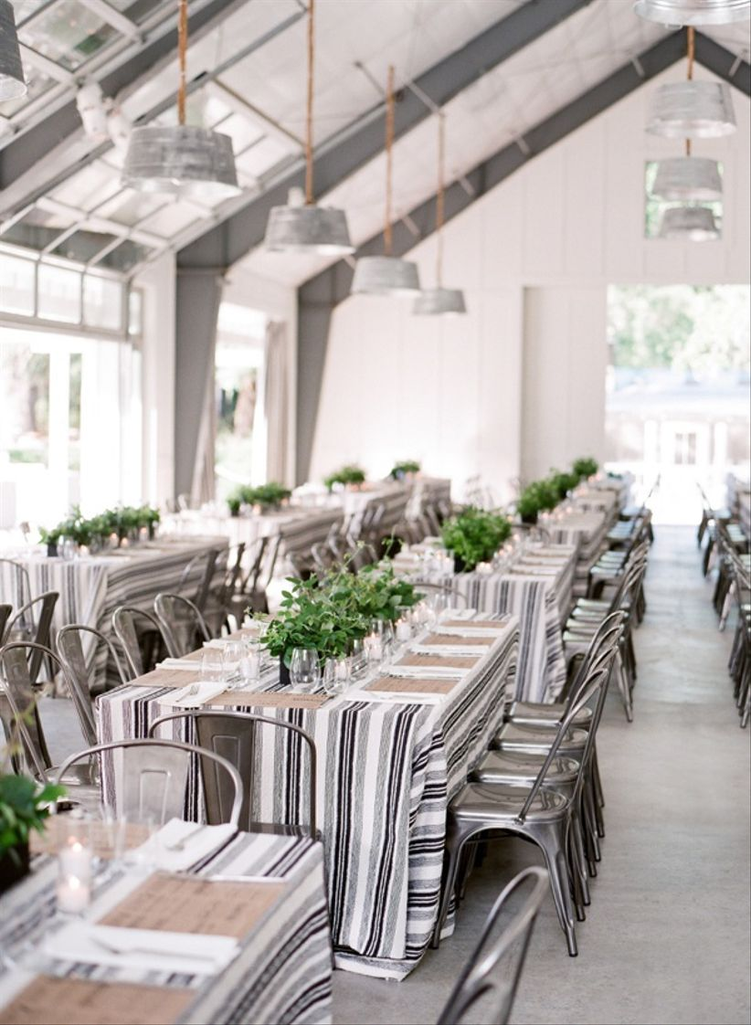 striped tablecloths tablescape