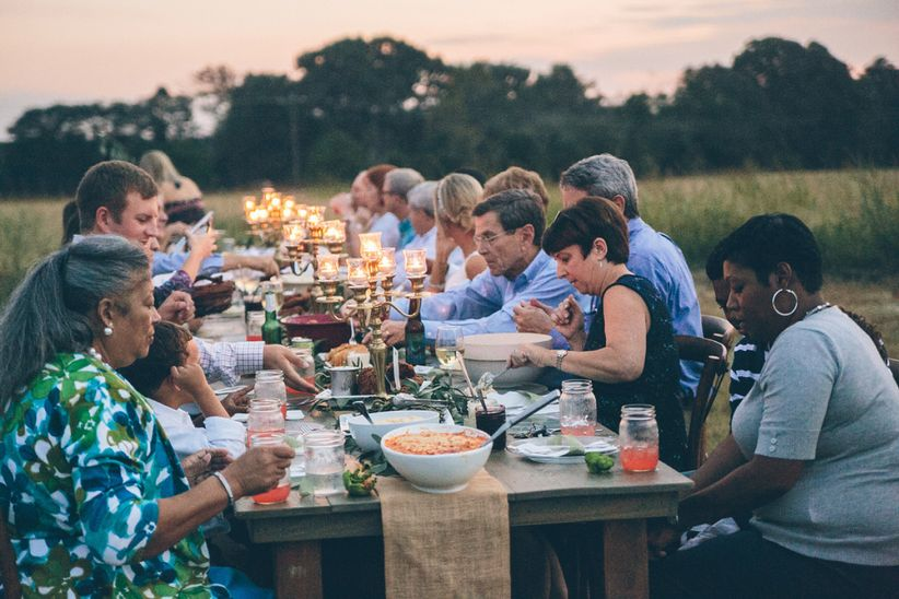 Outdoor wedding rehearsal dinner