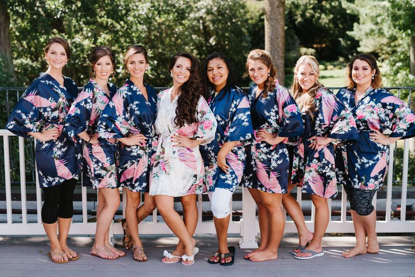 Bachelorette party game 21 questions weddingwire bridesmaids in floral robes m4hsunfo