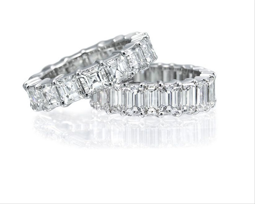 eternity wedding band with emerald cut baguette diamonds