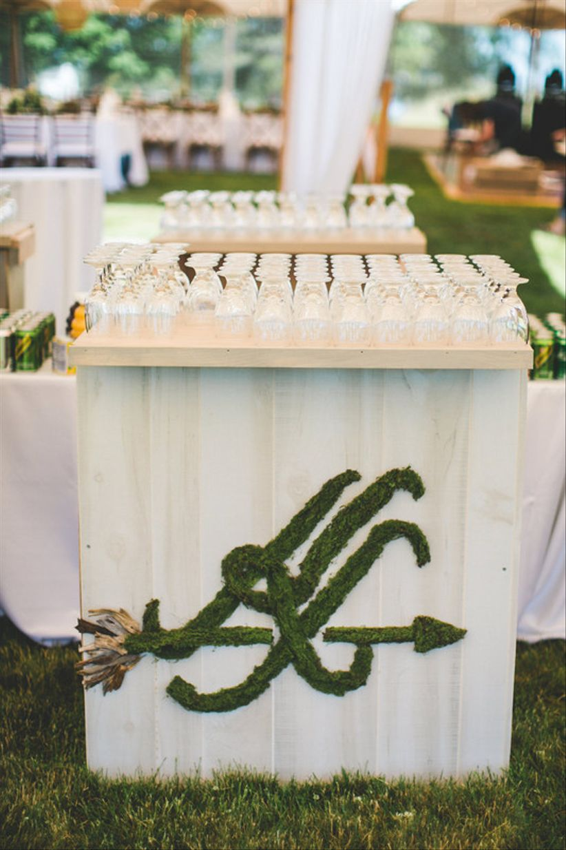 custom wedding cocktail bar with unique monogram made from moss