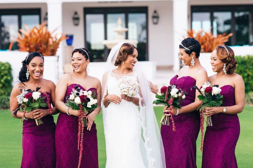 bridesmaid with jeweled headpieces