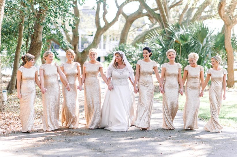 bridesmaids in gold sequined dresses