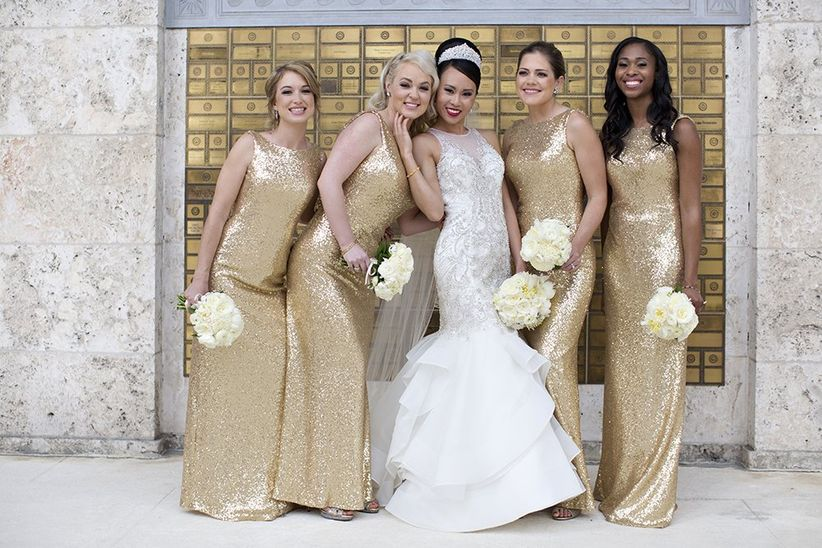 formal gold sequin bridesmaid dresses