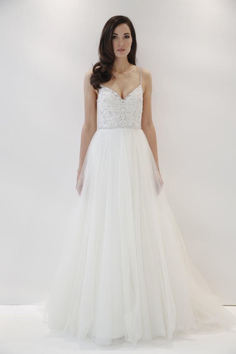 spaghetti straps wedding dress watters