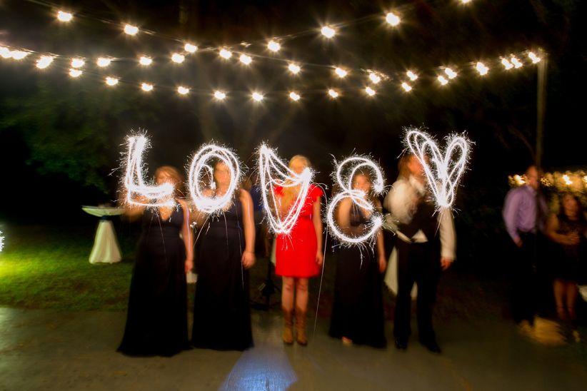 sparklers spelling love