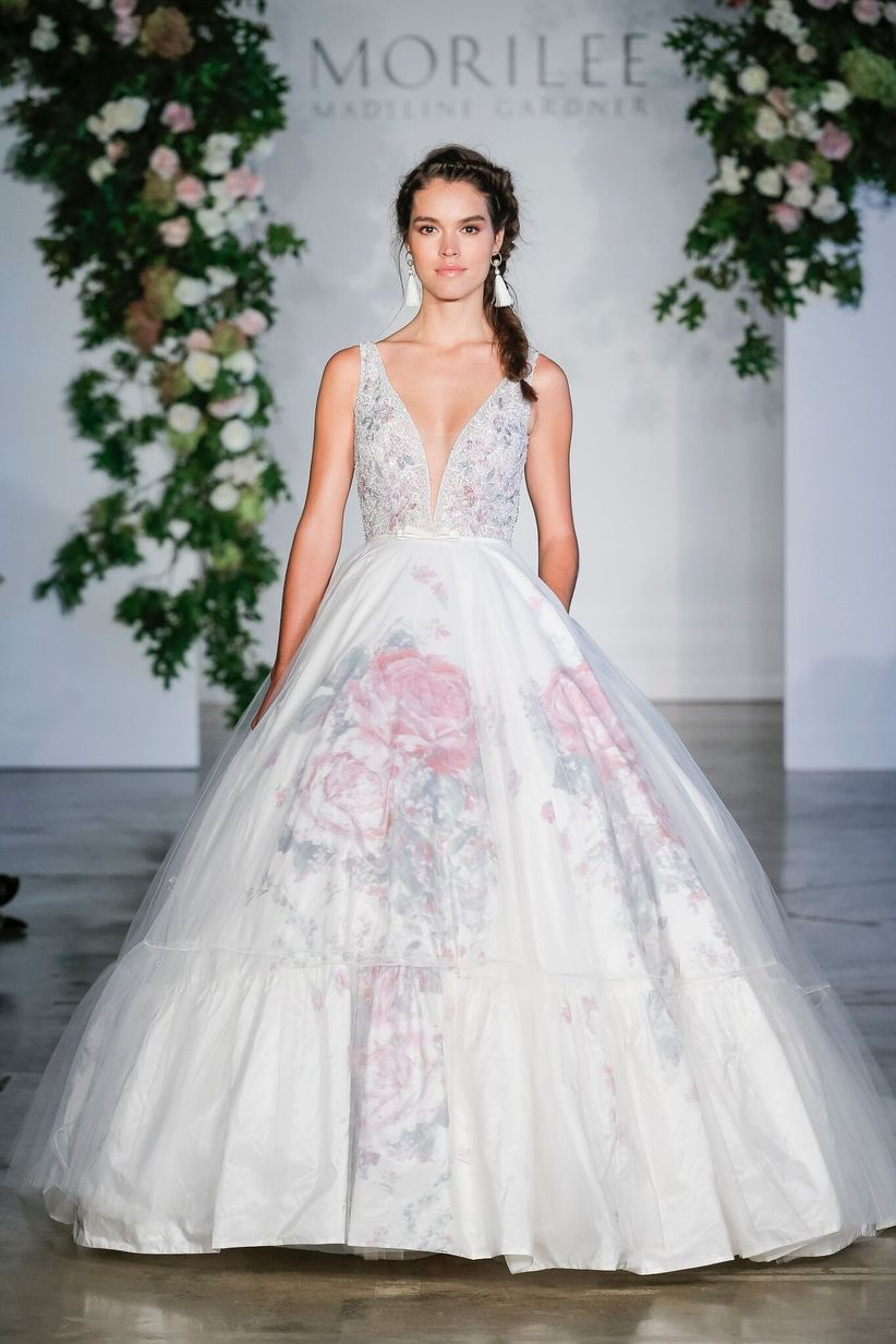 11 floral wedding dresses for the botanical loving bride weddingwire morilee fall 2018 wedding dresses junglespirit Choice Image