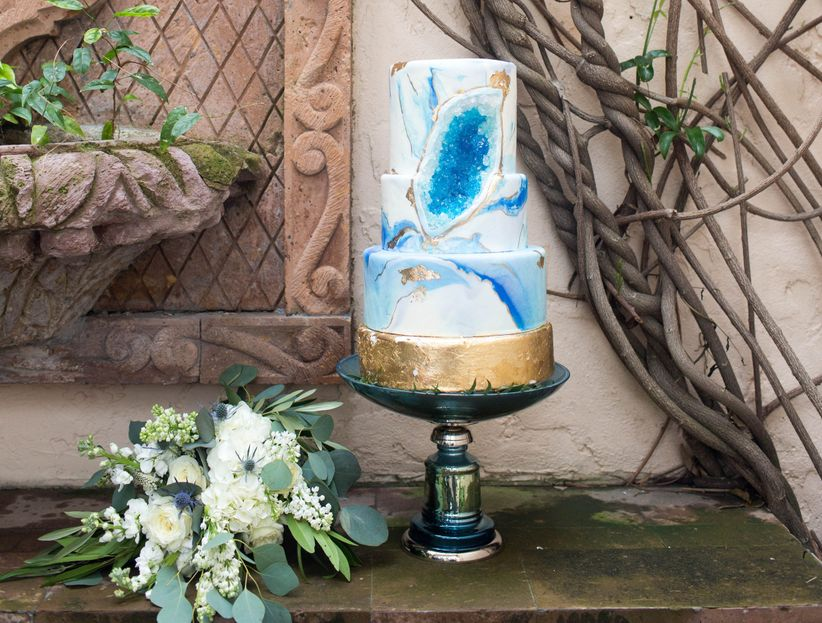 blue and gold geode cake