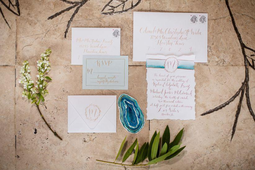 modern watercolor invitation suite
