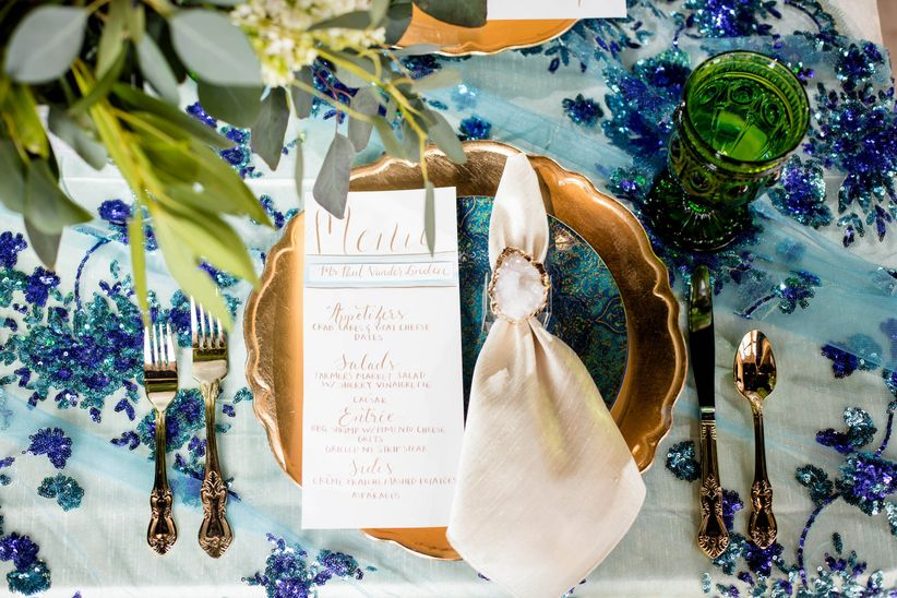 glam blue and gold place setting