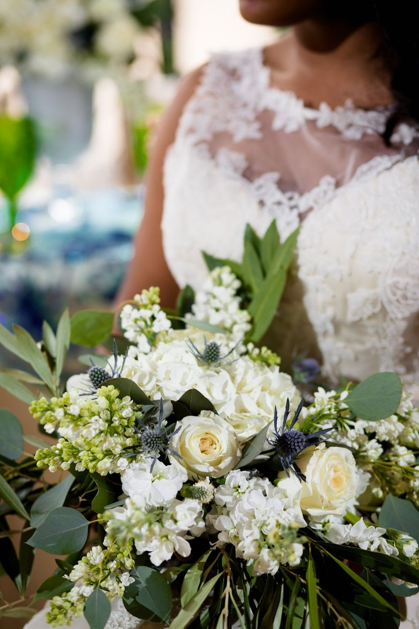 white and green loose bouquet