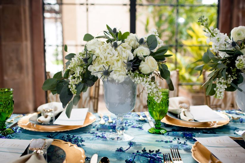 white blue and green centerpiece