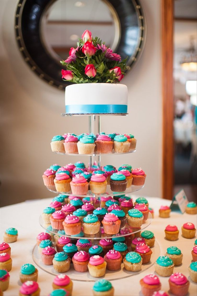 colorful cupcake tower