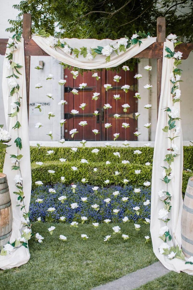 ceremony backdrop floral garlands