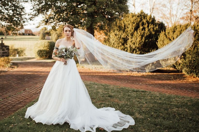 ball gown with long veil