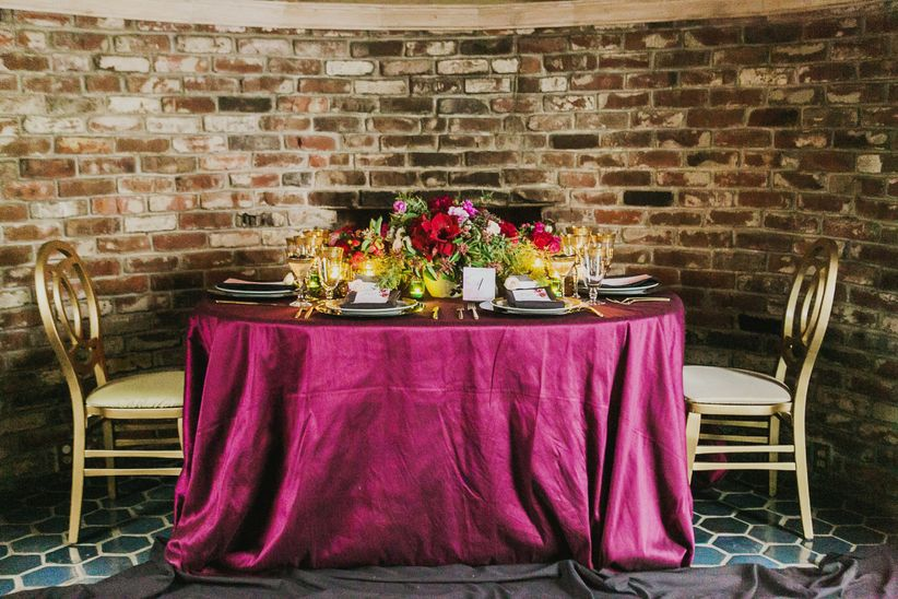 formal tablescape golden chairs marsala tablecloth