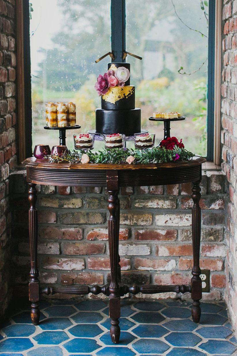 dessert display fondant black cake gold leaf cheesecake parfait chocolate sundaes