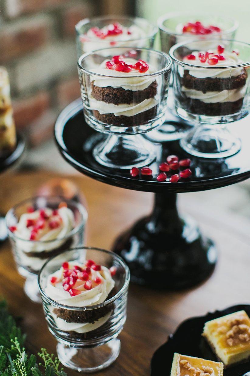 close up chocolate sundaes wedding dessert