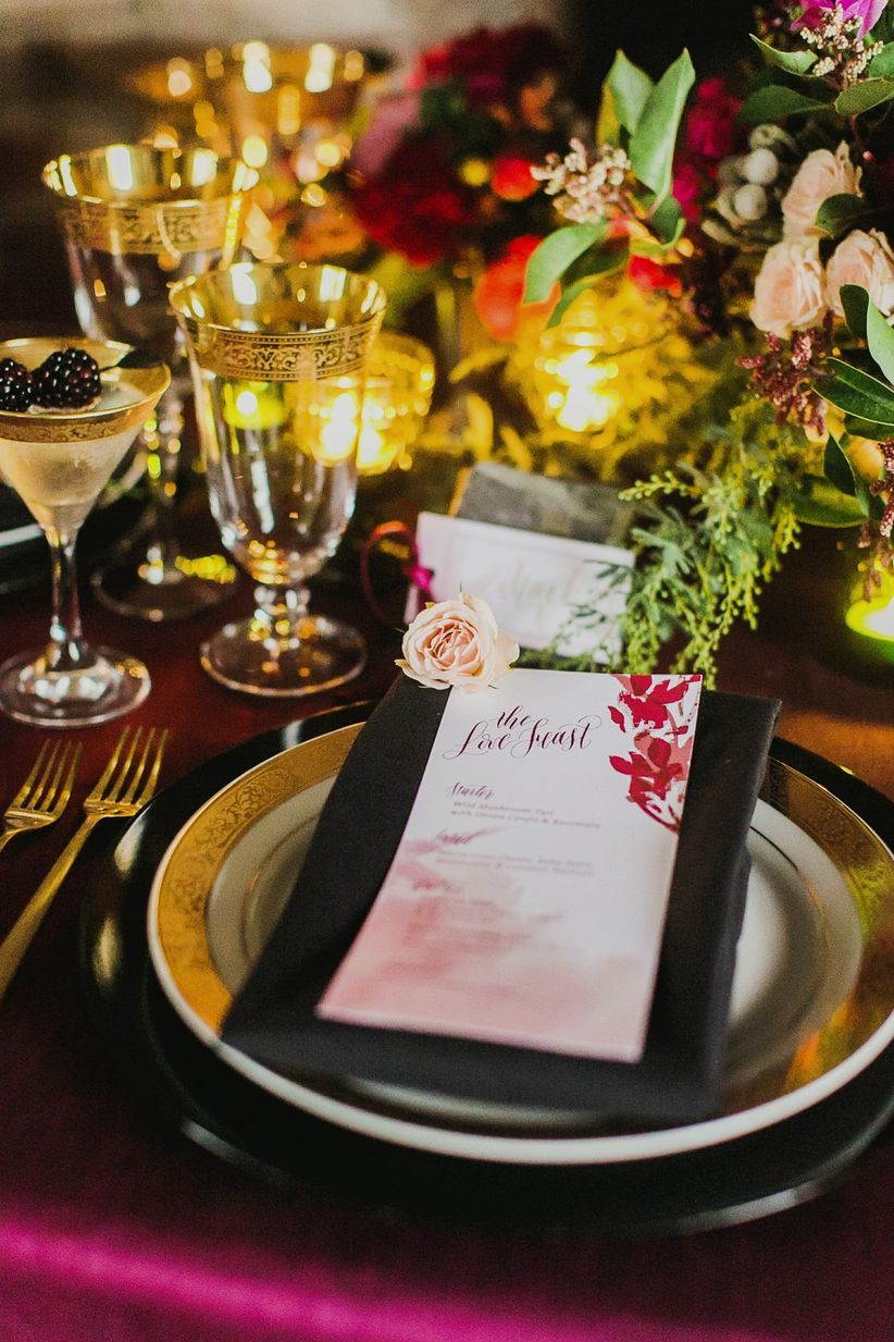 close up on plate and menu place setting