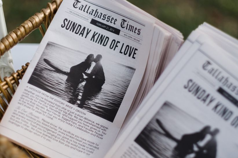 newspaper wedding ceremony programs that read sunday kind of love