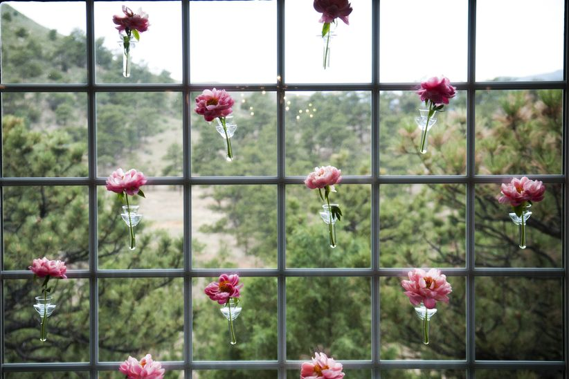 flower backdrop with peonies
