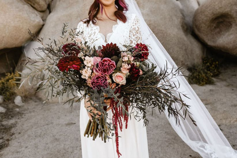 oversized bohemian fall bouquet with dark purple flowers and greenery
