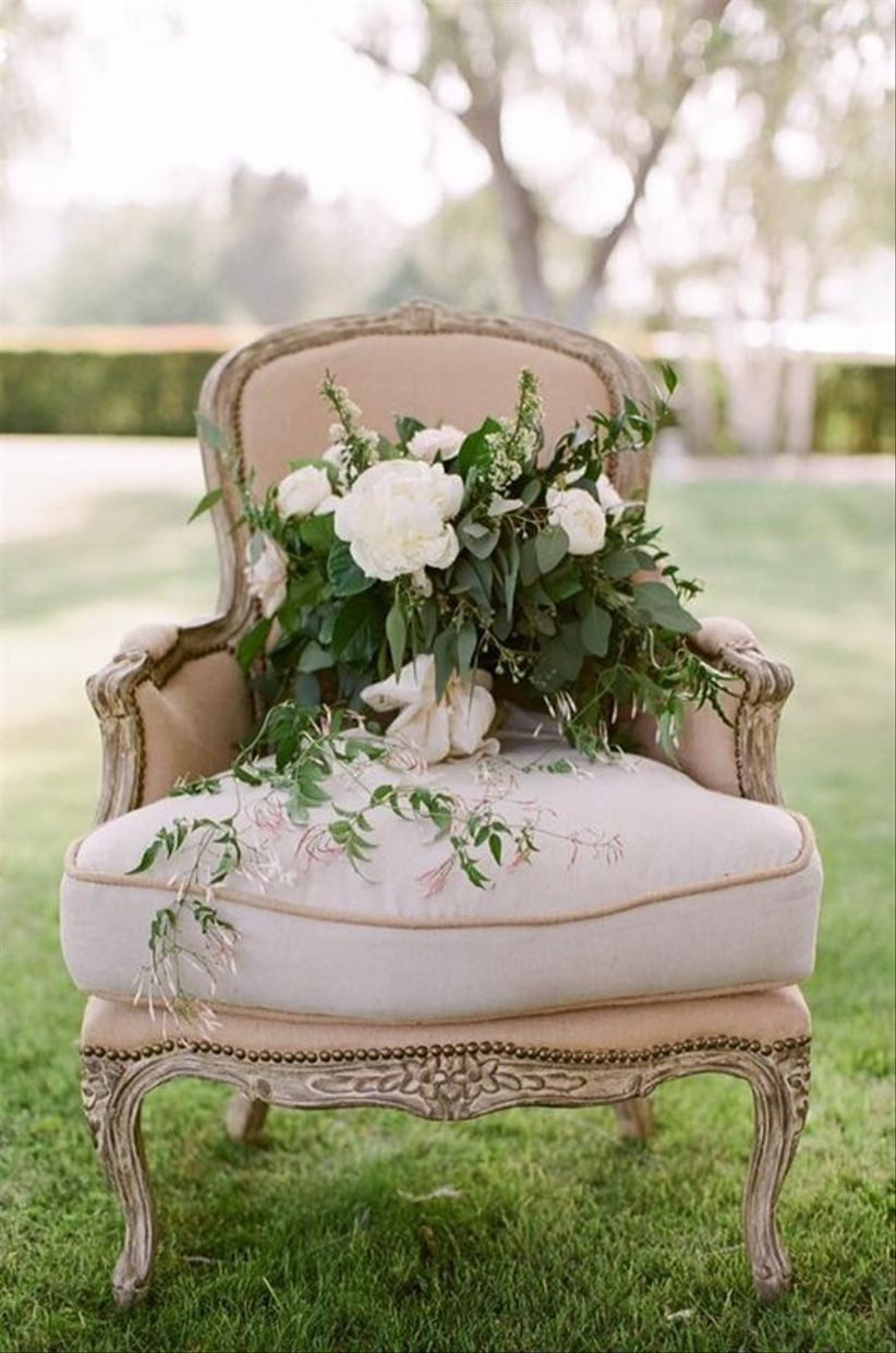 vintage upholstered chair for wedding rental
