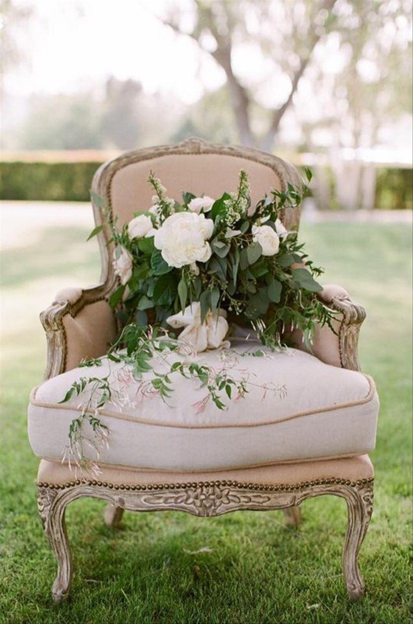 vintage upholstered chair for wedding rental