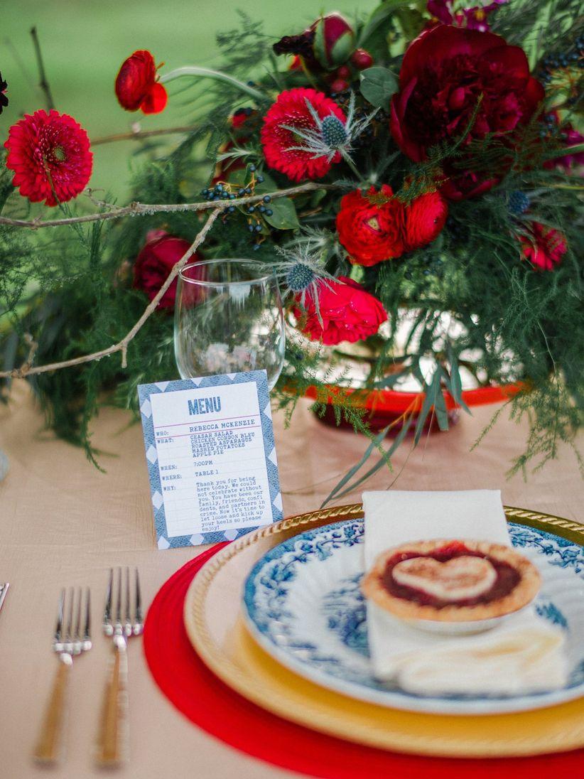blue menu cards