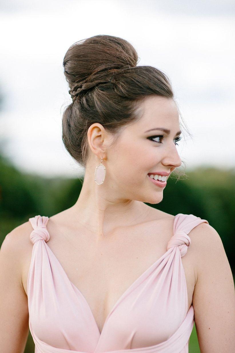 bridesmaid v neck dress top knot