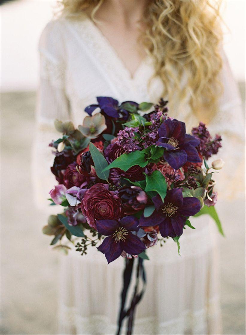 deep purple bridal bouquet