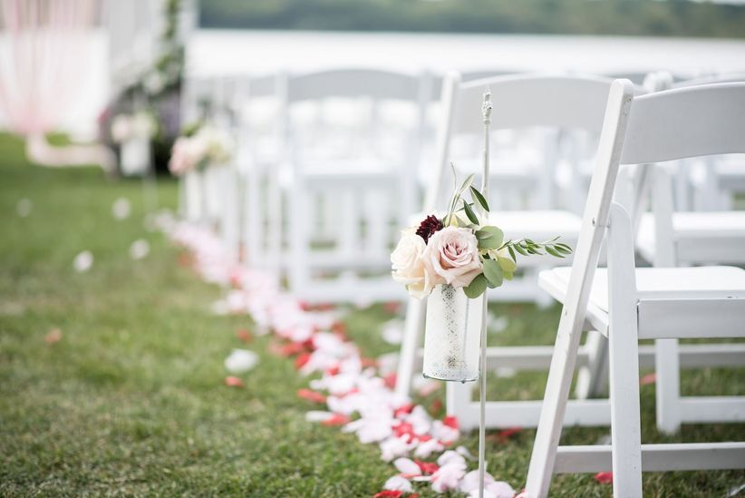 rose aisle marker outdoor ceremony