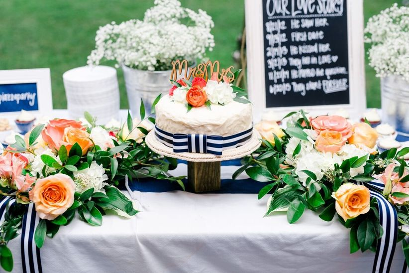 preppy blue and coral wedding cake