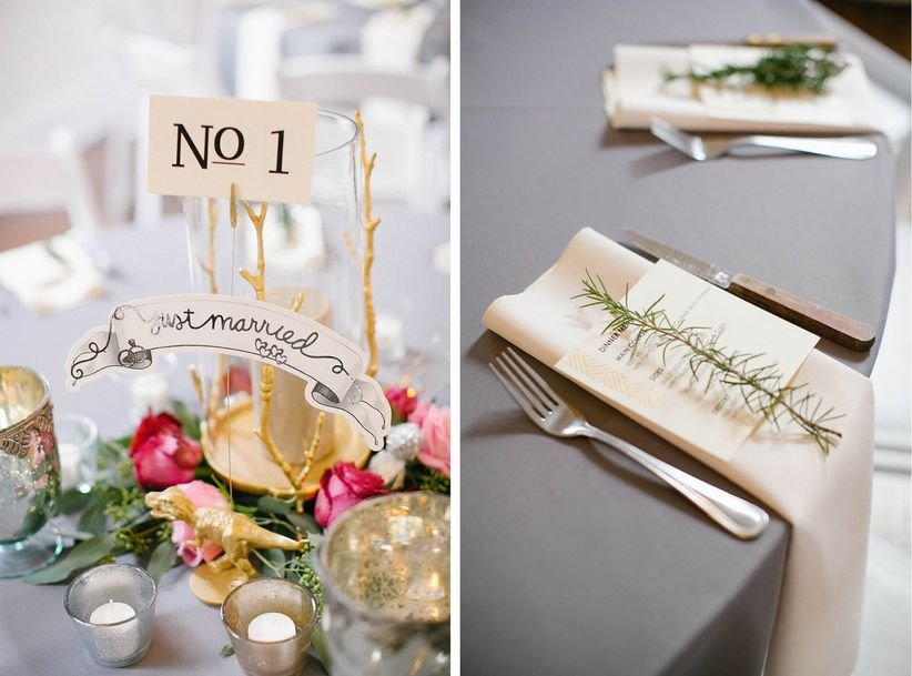 pink and gold centerpiece ideas