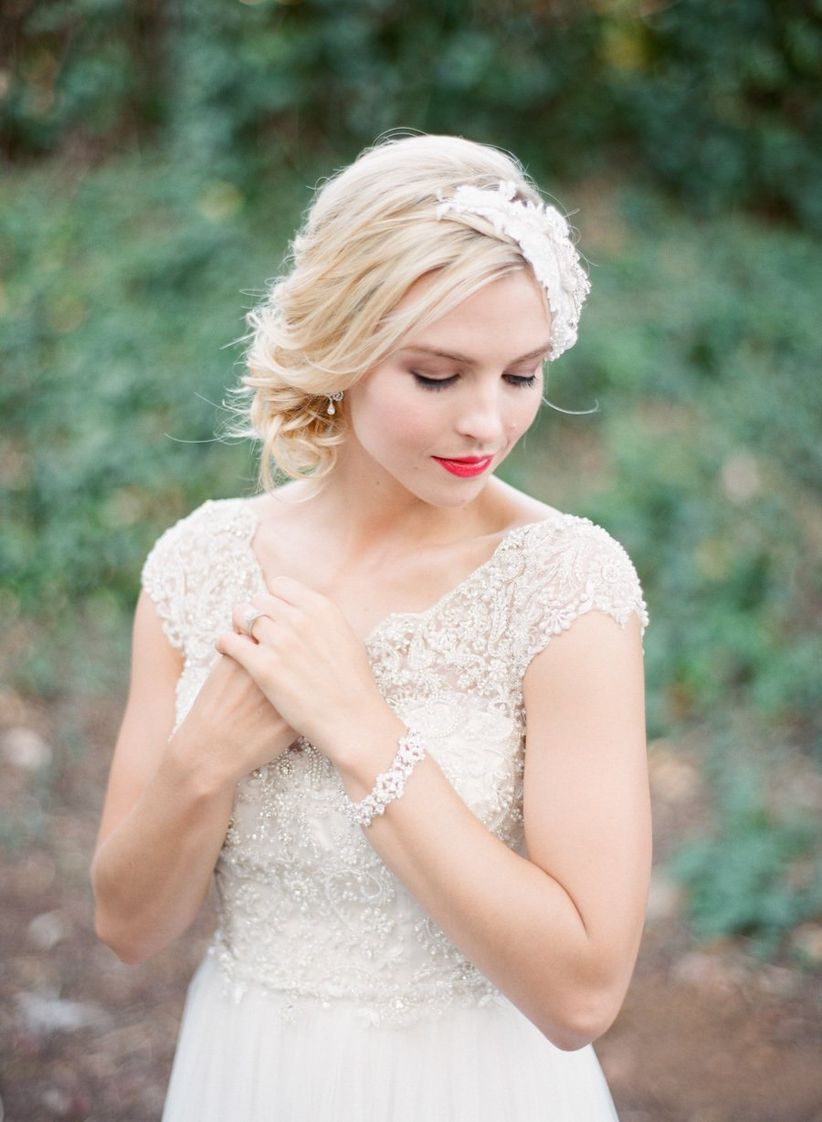 bride with updo and red lips