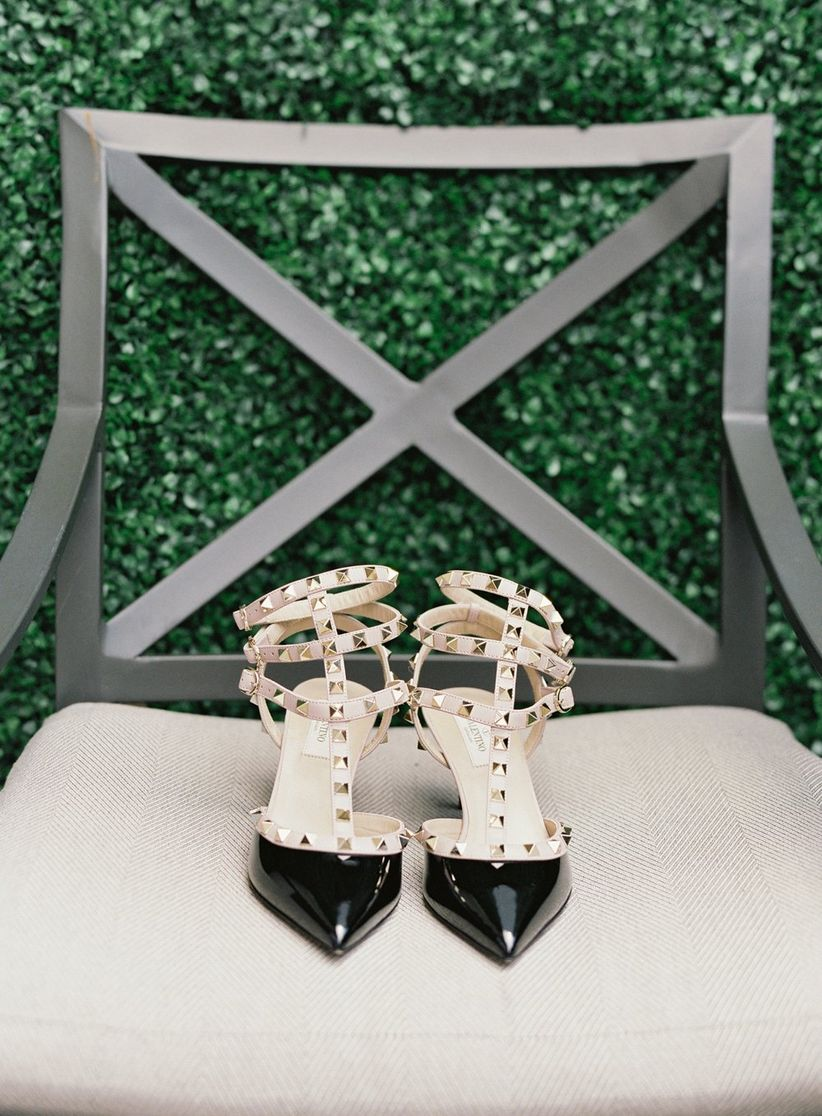 black and gold Valentino high heels wedding shoes