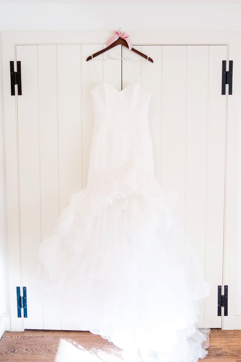 strapless sweetheart gown on hanger