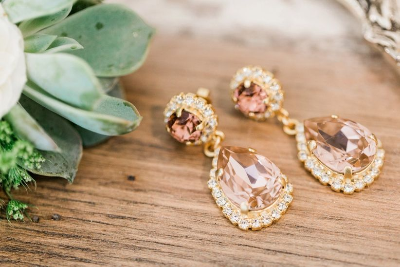 drop earrings with gold halo setting