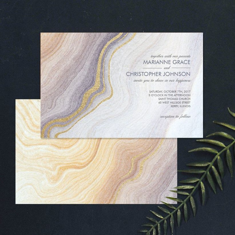 bohemian marble wedding invitations with gold foil and neutral gray and brown color palette