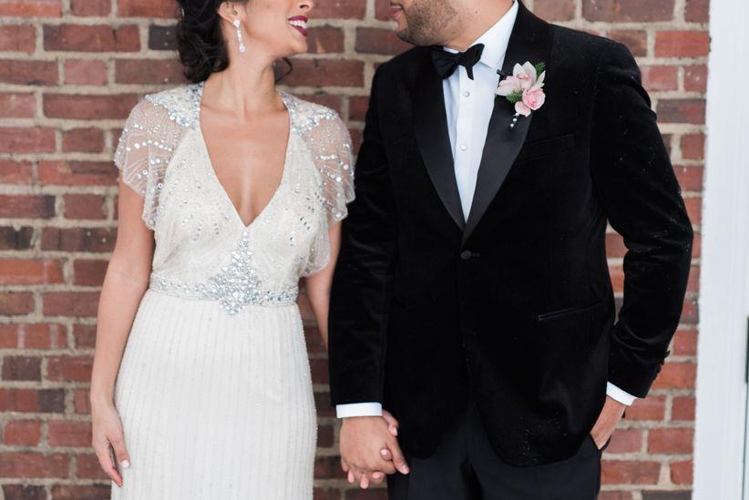 glam wedding couple