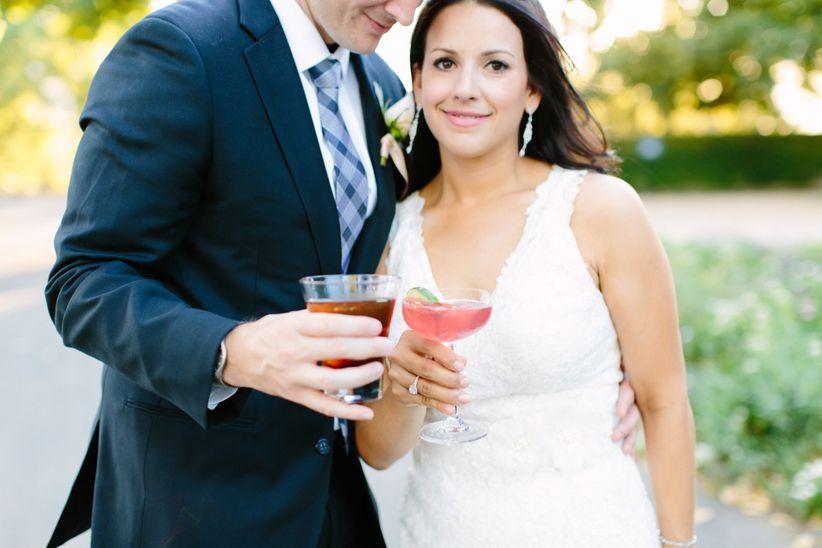 couple toasting drinks