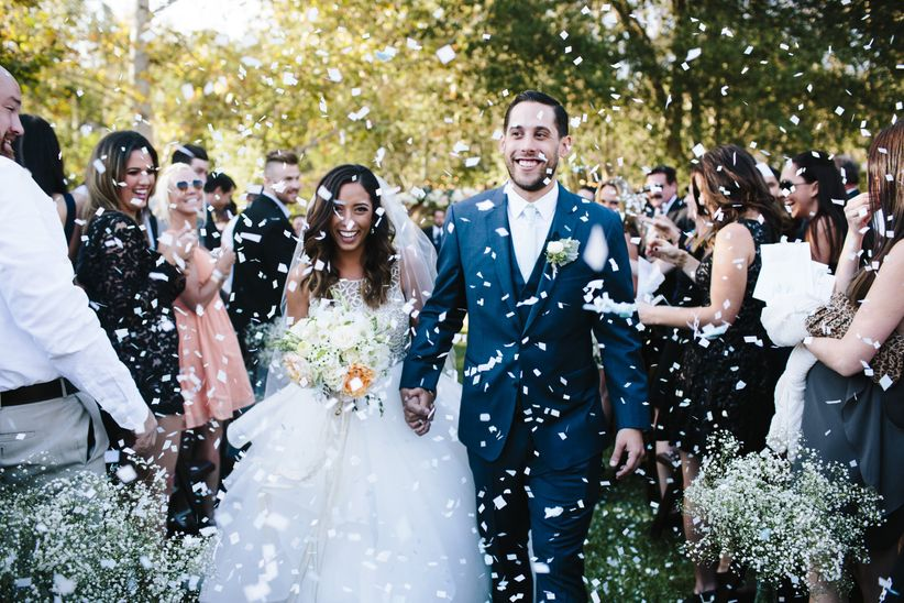 couple wedding recessional confetti