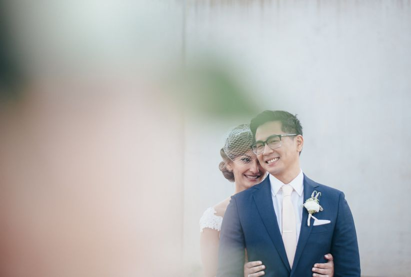 smiling wedding couple