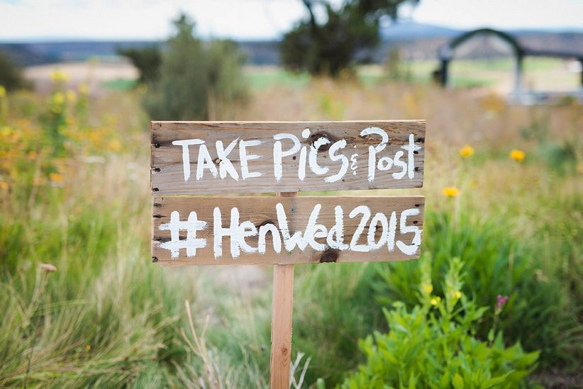 wooden rustic wedding hashtag sign