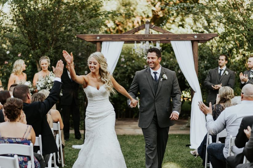 couple recessional high five