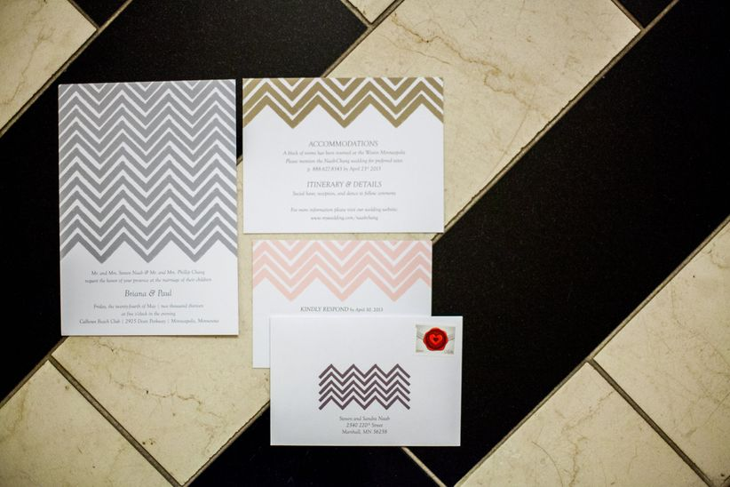 chevron wedding invitation set