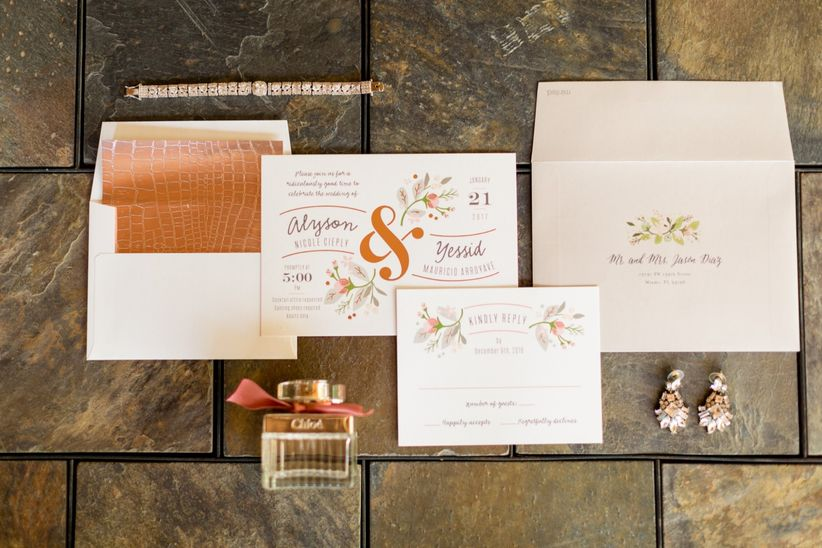 pink and gold wedding invitation suite