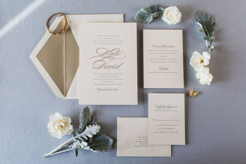 classic gold wedding invitation