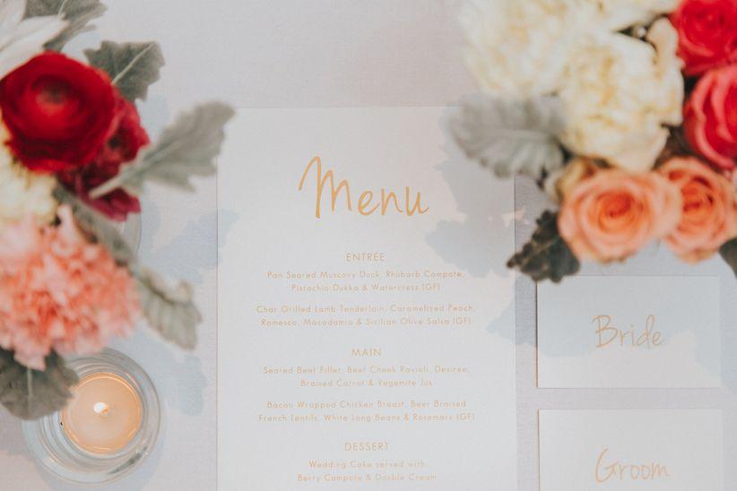 wedding menu place setting